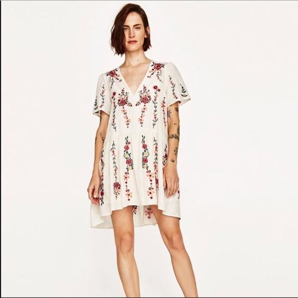 7a6373fab34d Zara Dresses | Boho Dress Floral Embroidery Peasant Xs Tunic | Poshmark